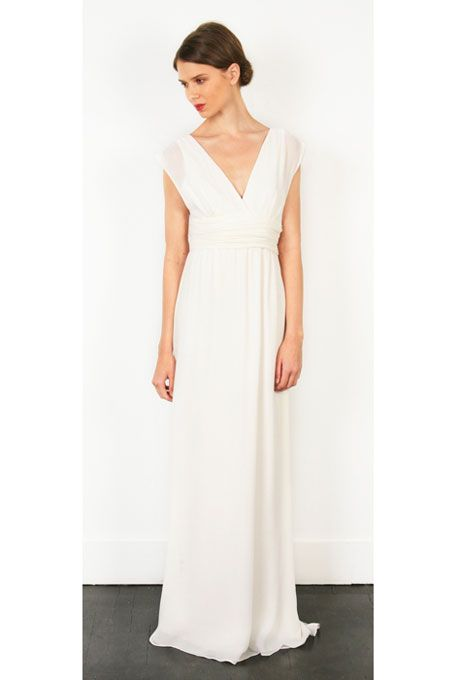 "Brides.com: Wedding Dresses We Love For Under $1,000. The deep V-neck on this chiffon gown lengthens the torso.   ""Marilyn"" deep V-neck layered chiffon wedding dress, $480, Thread  See more Thread wedding dresses."