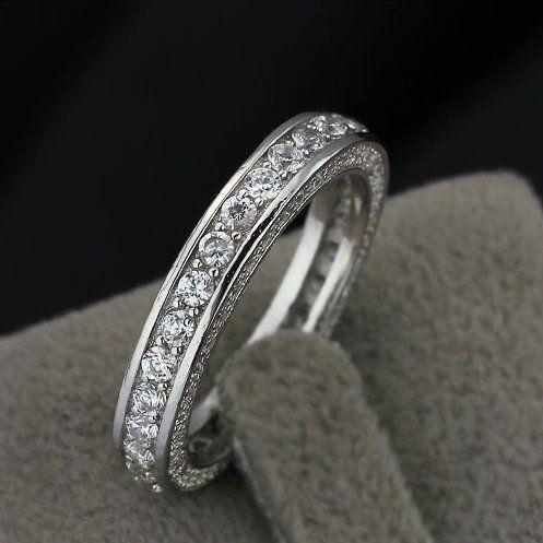 Jewelora sterling and zircon wedding ring #RI101156 Classic Elegant 925 Sterling Silver womens wedding rings CZ Lady Ring