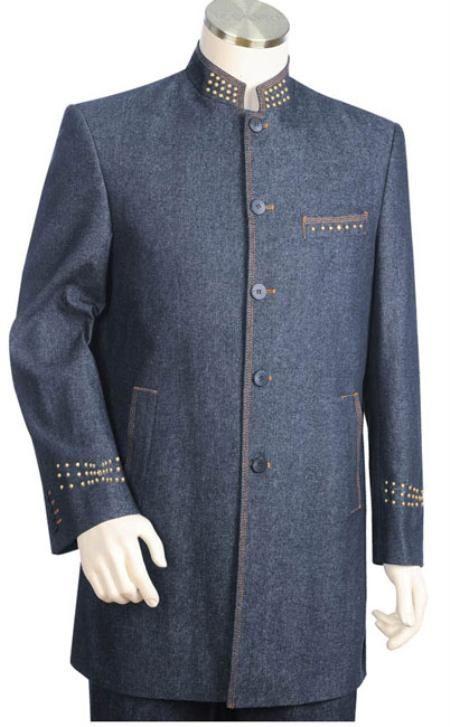 Azul Denim tela de algodón Traje 2 piezas de Hombre en 199 dólares