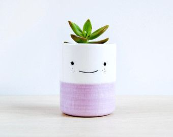 Dog ceramic plant pot Face planter Succulent planter by noemarin