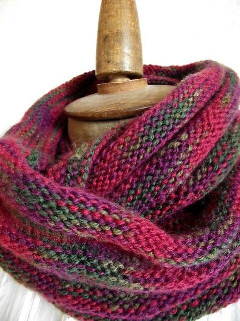 Knitting purple scarf