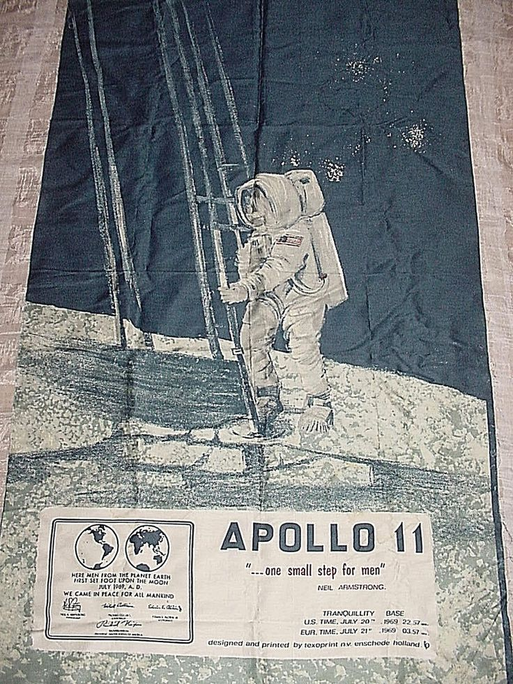 Vintage MOON LANDING APOLLO 11 Fabric Panel for Wall NASA ASTRONAUT Names TEXOPRINT