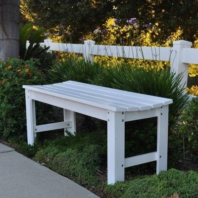 Cedarwood 4 Ft. Backless Garden Bench   White
