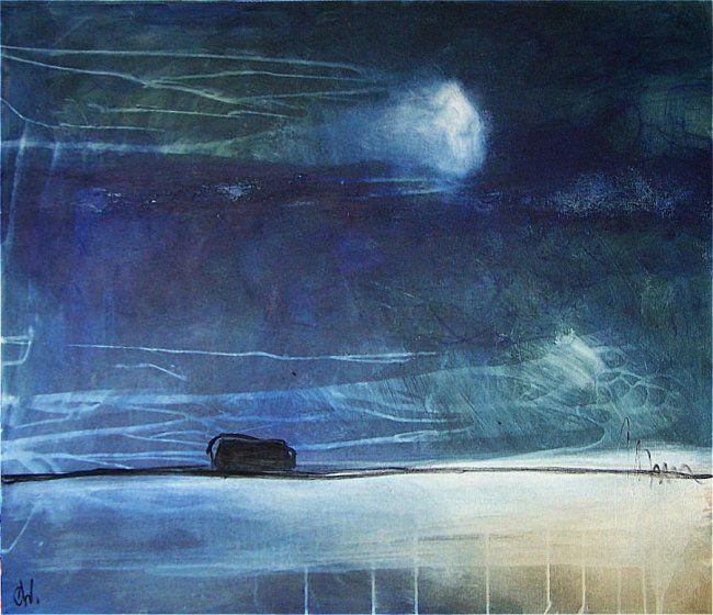 Sternenklare Nacht -  abstraktes blaues Bild