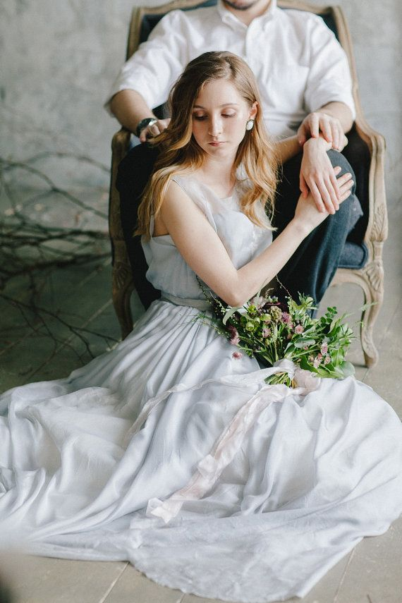 Romantic Rustic blue grey wedding dress / http://www.deerpearlflowers.com/unique-sophisticated-wedding-dresses-from-cathy-telle/
