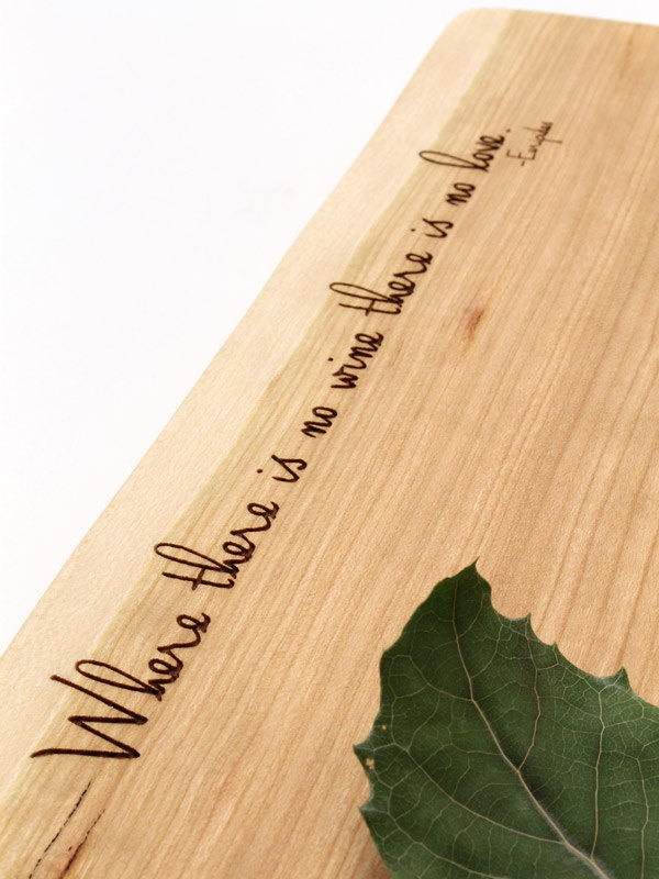 "Natural Live Edge Engraved Cheese Board. ""Where there is no wine there is no love."" :)"