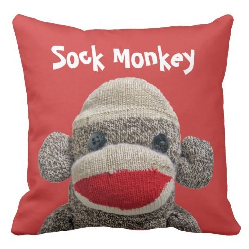 Stanely the Sock Monkey Throw Pillow