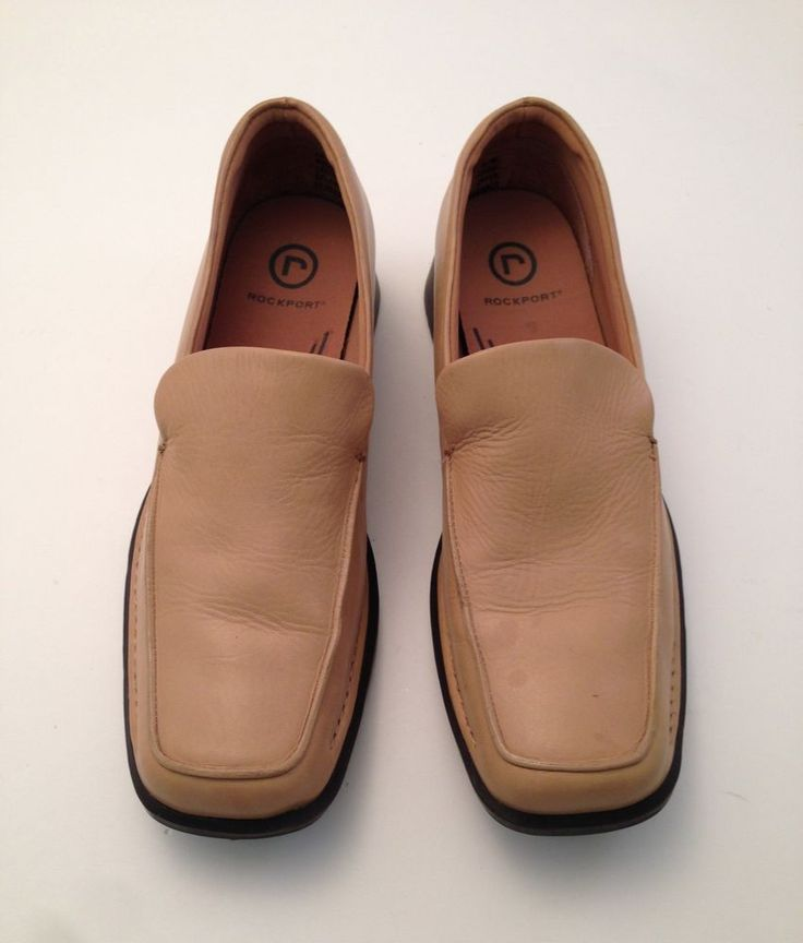 Rockport Slip On Beige Loafers #503002 Leather Womens Size US 6 1/2 Medium