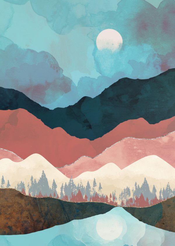 Fall Transition Metal Poster Print Spacefrog Designs Displate Art Prints Watercolor Paintings Easy Mountain Paintings