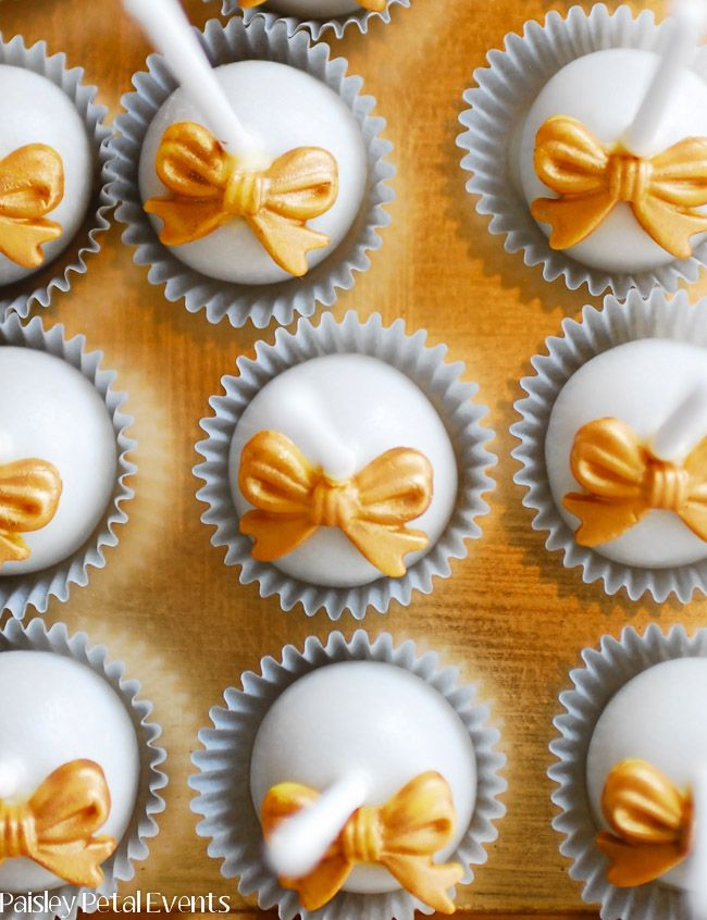 50th Wedding Anniversary Cake Pops With Gold Bows 2