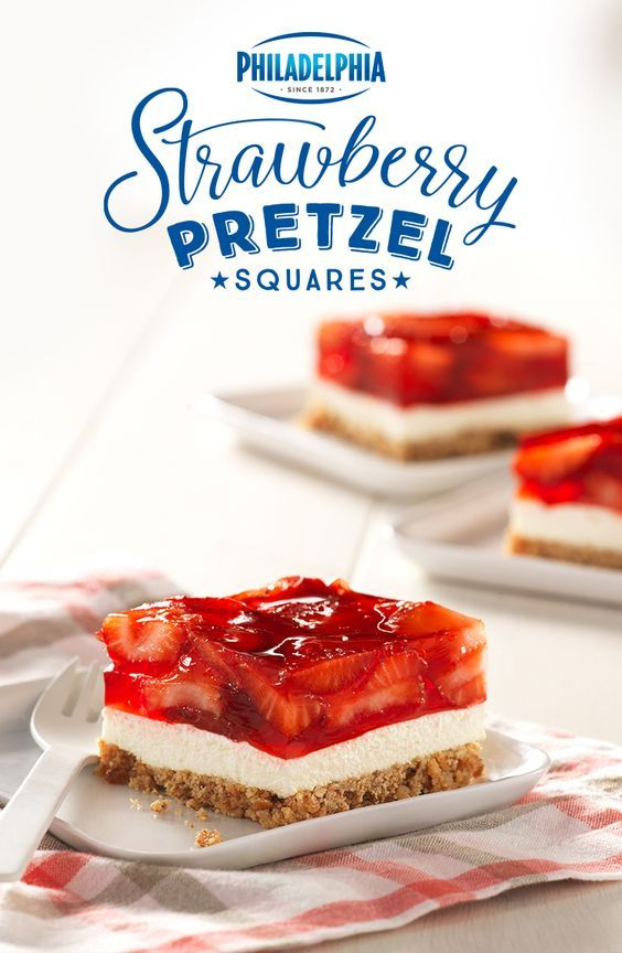 This 4th of July try these Strawberry Pretzel Squares. They taste just as good as freedom. But crunchier. Made with PHILADELPHIA Cream Cheese pretzels sugar butter milk Strawberry JELL-O COOL WHIP and strawberries.
