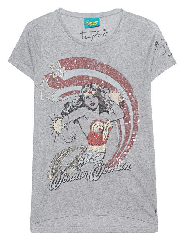 """T-Shirt mit Pailletten und Strass Das gerade geschnittene grau melierte T-Shirt ist aus ultra-weicher Viskose gefertigt und kommt mit coolem Strass und Pailletten verzierten """"Wonder-Woman""""-Print.  Perfekt für Heldentaten..."""