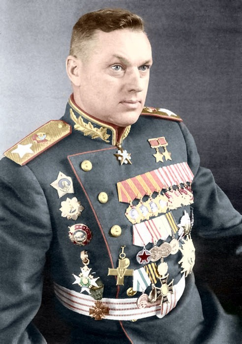 A Marshal of the Soviet Union, a Marshal of Poland and Poland's Defence Minister Konstantin Konstantinovitch Rokossovsky (1896-1968). He was one of the key top commanders during WWW2. During the Battle of Stalingrad Rokossovsky, commanding the Don Front, led the northern wing of the Soviet counter-attack that encircled Paulus' Sixth Army and won the decisive victory of the Soviet-German war. During the final phase, Rokossovsky's troops linked with the British while Berlin fell to the…