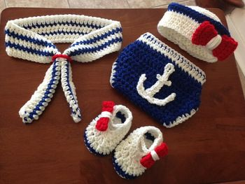 Handmade Crochet Hat ,Navy Style Baby Beanies Newborn Photo Prop Outfits Newborn Hat, Tie, Shoes With Diaper Cover Sets
