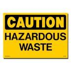 14 in. x 10 in. Decal Black on Yellow Plastic Hazardous Waste, Yellow With Black Printing