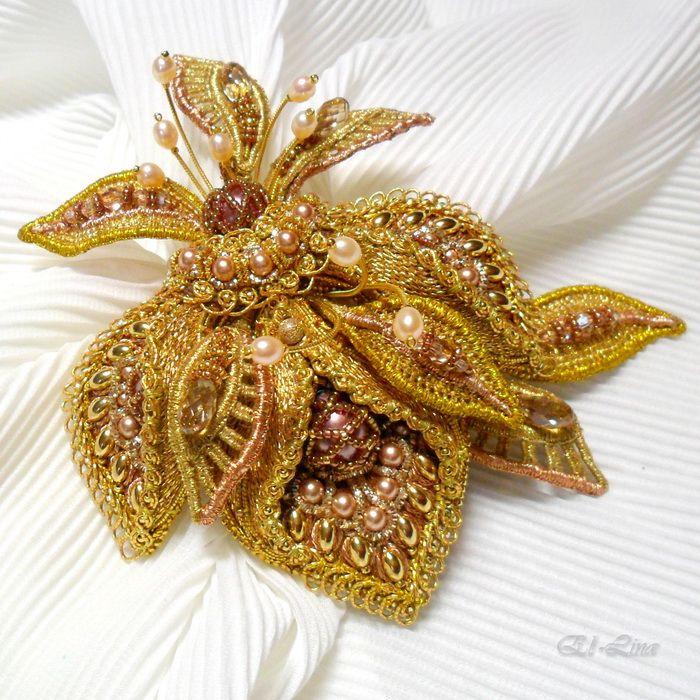 Goldwork embroidery, needle lace, beads. By Elena Emelina