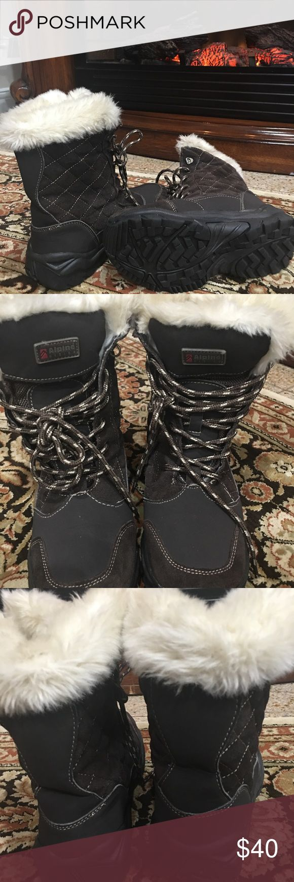 ALPINE DESIGN SNOW/WINTER WOMAN 'S BOOT ALPINE DESIGN SNOW/WINTER WOMAN 'S BOOTS SIZE 6  LEATHER MAN MADE UPER  FAUX FUR USED IN GREAT CONDITION ALPINE DESIGN Shoes Winter & Rain Boots