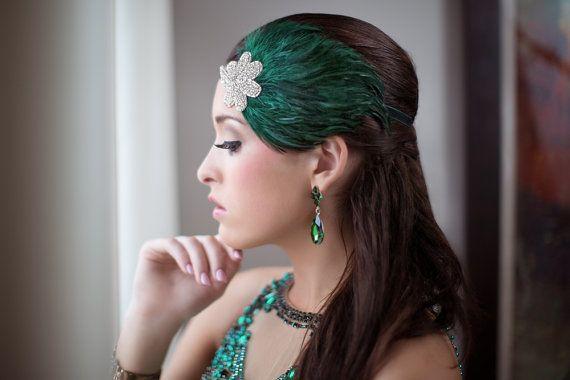 Groene veren hoofdband jaren 1920 hoofdband door AdorningBeautyCo