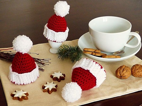 Eierwärmer Weihnachtsmützchen Häkelanleitung Nähenstricken