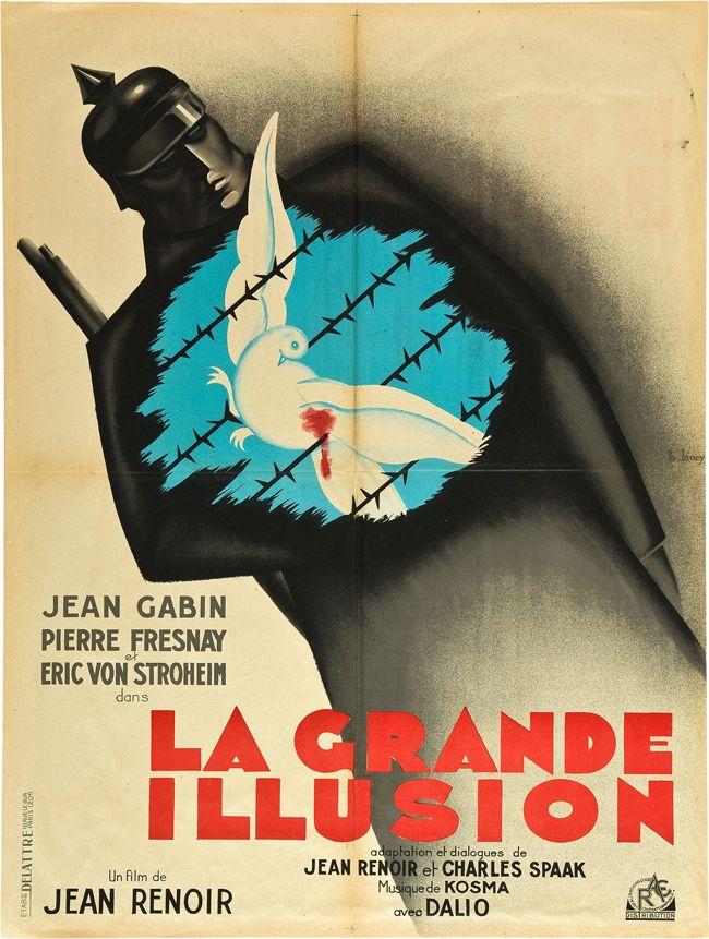 """377. """"la grande illusion"""" de jean Renoir avec Jean Gabin, Pierre Fresnais et Eric Von Stroheim."""