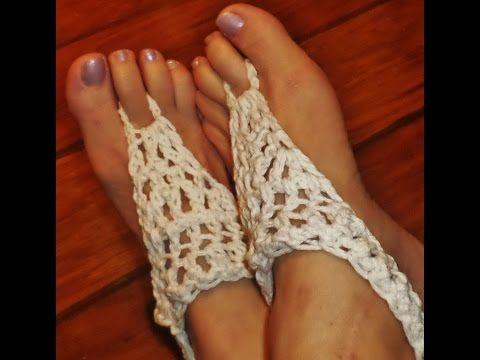 Crochet Barefoot Sandal Tutorial for Adult Size - YouTube