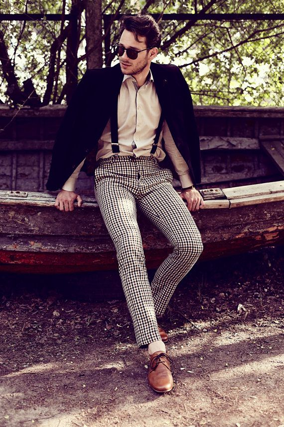 Check-please! pants for men / wool trousers for man / checkered mens trousers pants/ dress pants / tailored/ fashion menswear