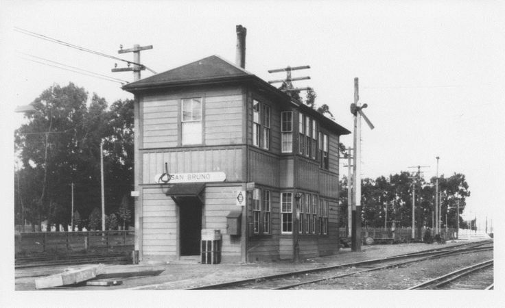 San Bruno Train Station. Located on Huntington Avenue near Euclid; the line of trees in the background marks the limit of San Bruno Park. ca. 1910s