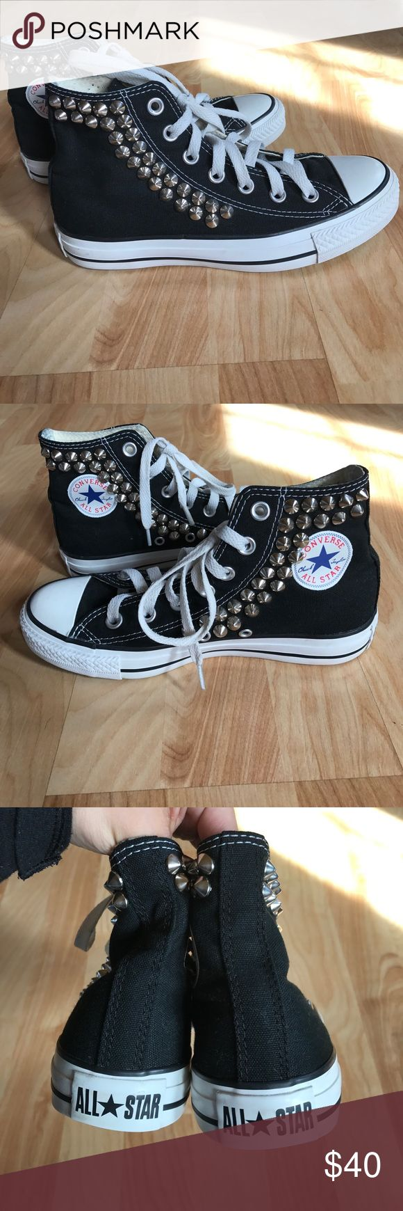 Converse high tops ❤️SALE❤️ I purchased these rare studded converse from freepeople.com and I have not seen them for sale since😊. They are a true women's 6 and measure 9.5 inches from heel to toe and 2.25 inches across from the middle. Be sure to check out my other items for sale😁 I discount on multiple purchases❤️ Converse Shoes Sneakers