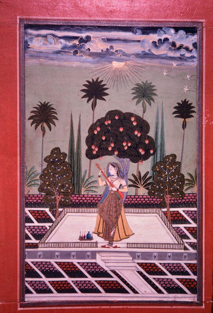 Saranga (Sarang) Ragini. Opaque watercolor on paper,  Hyderabad, Hyderabad District, Telangana, ca. 1725,  Banaras Hindu University, Bharat Kala Bhavan