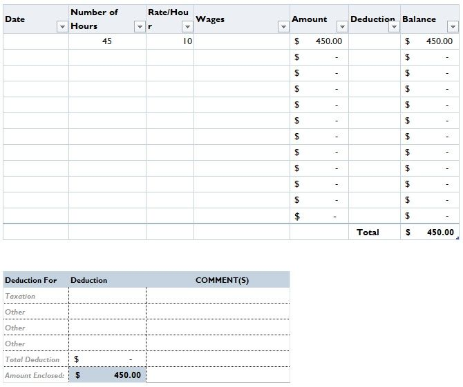 Driver Salary Format In Excel Excel Templates Excel Templates