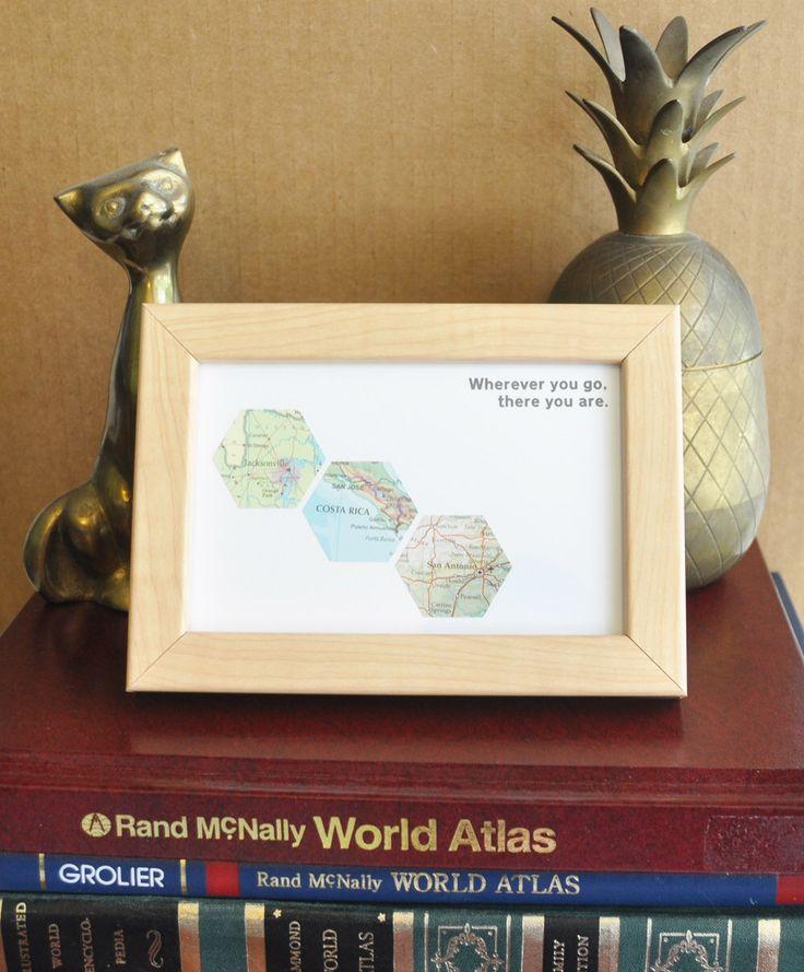 Personalized Graduation Gift for Boyfriend Graduation Map Art Custom Framed Geometric Recycled Hexagon
