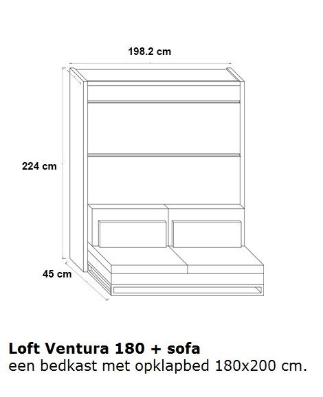 boone opklapbed loft ventura 180 met sofa bank bedkast ruimtebesparend bed 180x200 cm bedmaten. Black Bedroom Furniture Sets. Home Design Ideas