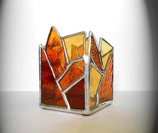 Sostenedor de vela de vidrio de color ámbar por AfricanSand en Etsy