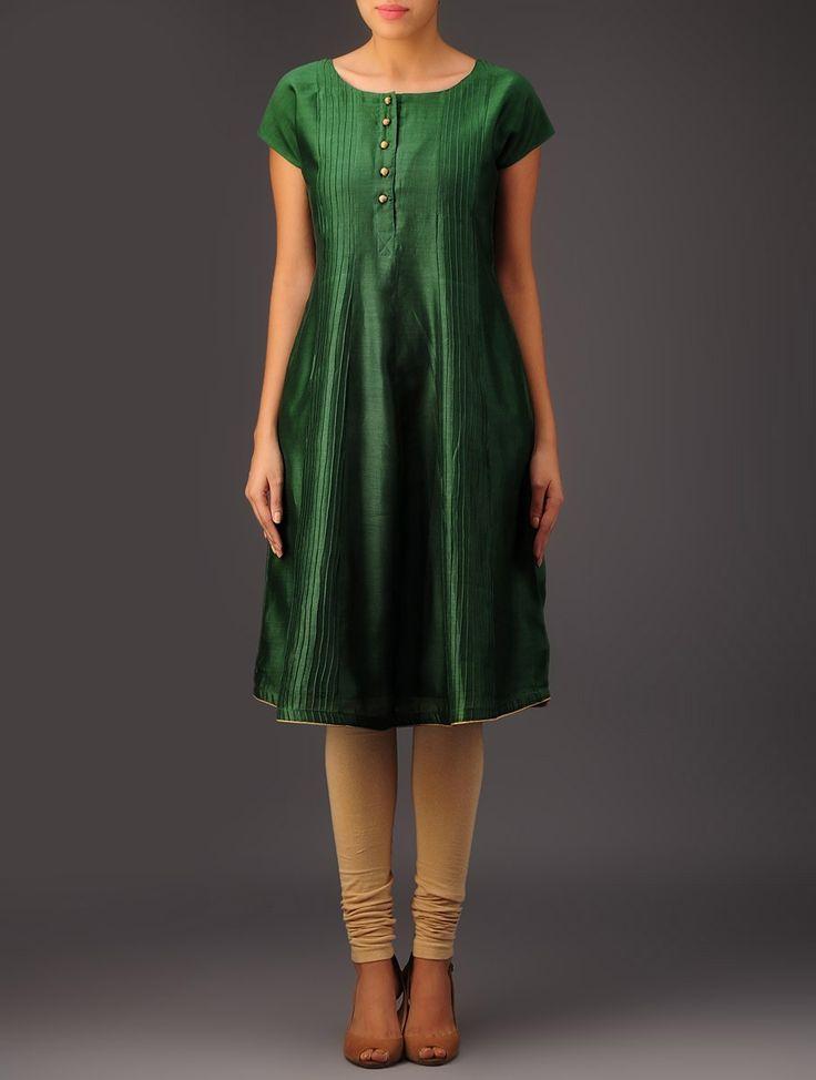 Green Pintuck Chanderi Kurta - Buy Apparel > Tunics & Kurtas > Green Pintuck Chanderi Kurta Online at Jaypore.com