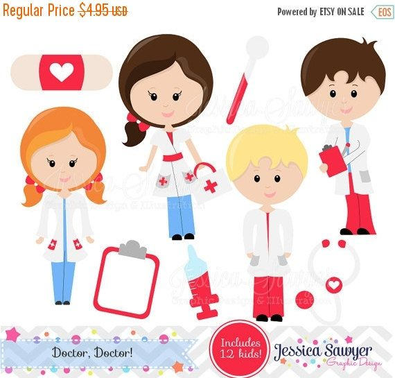 80% OFF - INSTANT DOWNLOAD - Doctor Clipart or Nurse Clipart for Personal and Commercial Use