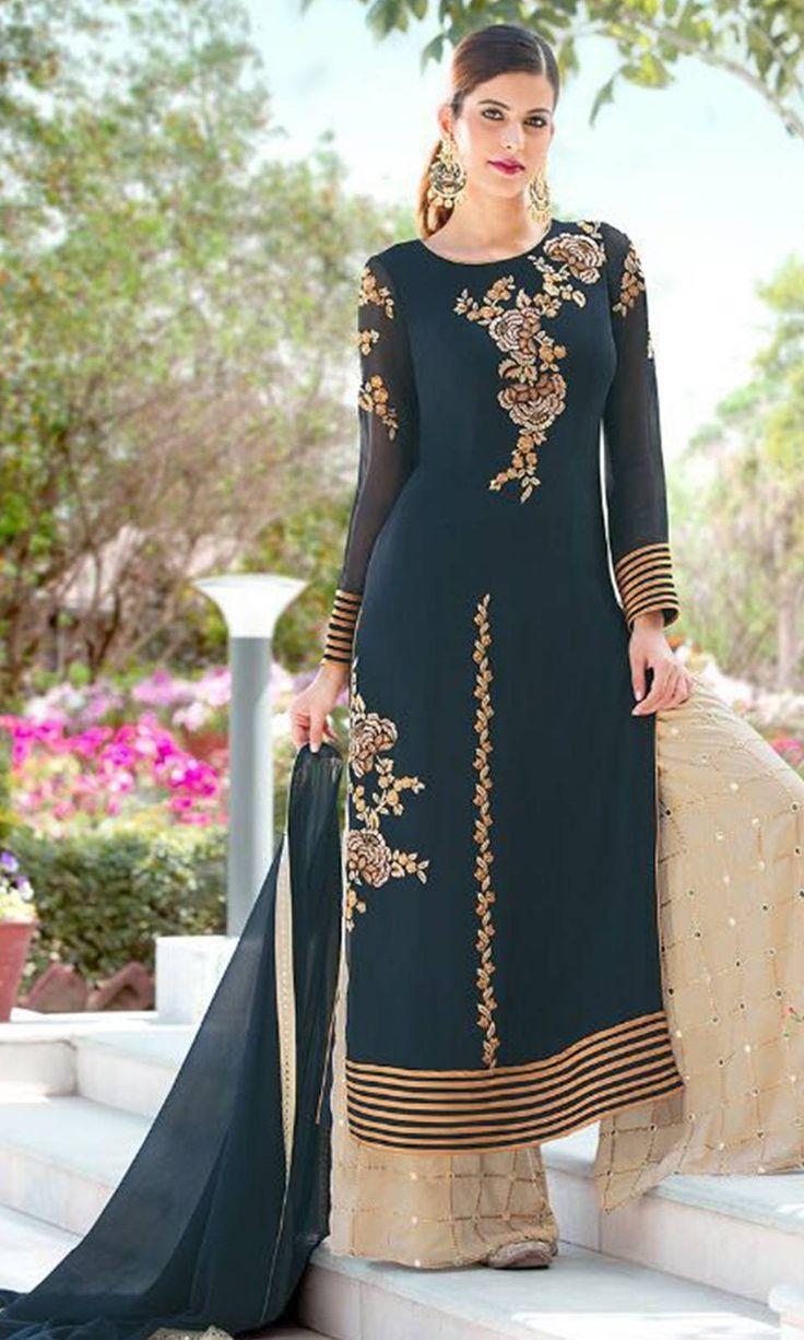 Buy online #Blue and #Beige #Designer #Salwar Kameez Suit (SKU Code : SUEBRGLZ2107) at Ishimaya Fashion.