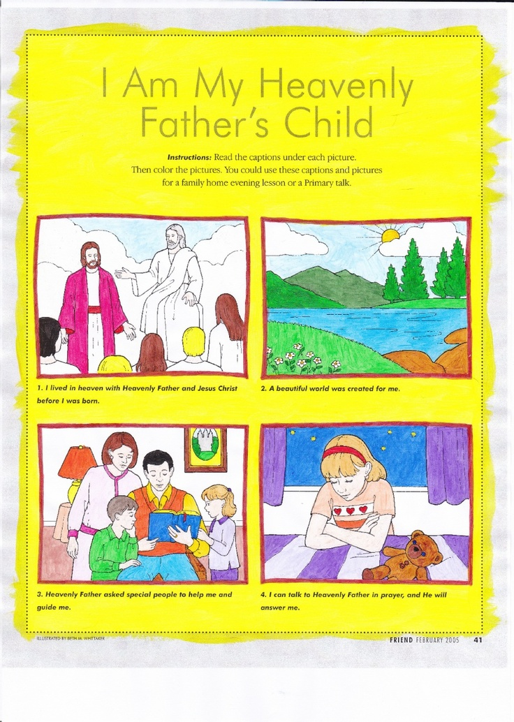 I Am My Heavenly Father's Child. Chopped it up to make a BOOKLET.  The original is from the Friend Feb 2005 Pg 41