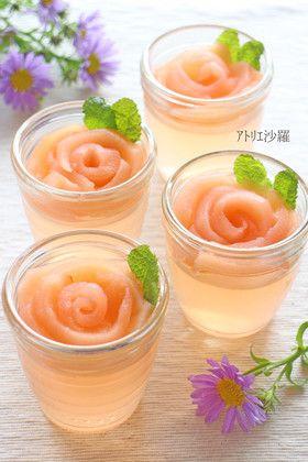 バラの花✿りんごと白ワインのゼリー✿