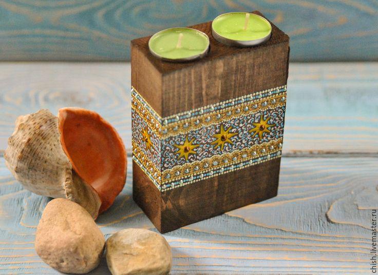 Купить Подсвечник деревянный - коричневый, рустик, рустикальный стиль, деревенский стиль, деревянный, деревянный подсвечник