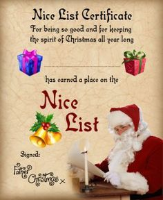23 best santa nice list images on pinterest christmas letters free nice list certificate from santa see more free downloadable letters from santa google search yelopaper Images