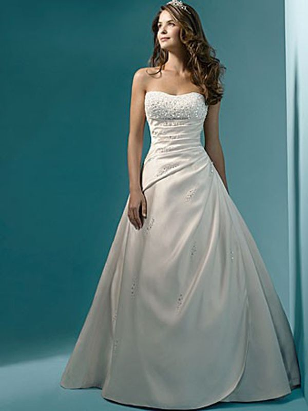 Ravishing White Satin Gown of Beaded Bodice and Ruched Skirt