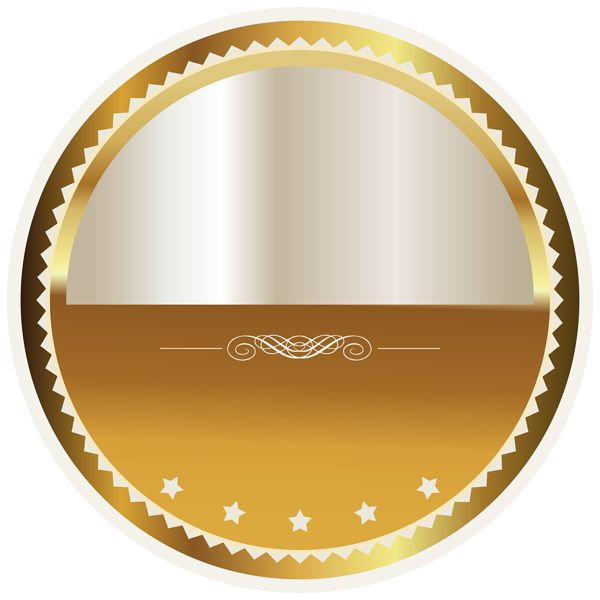Gold and White Seal Badge PNG Clipart Picture