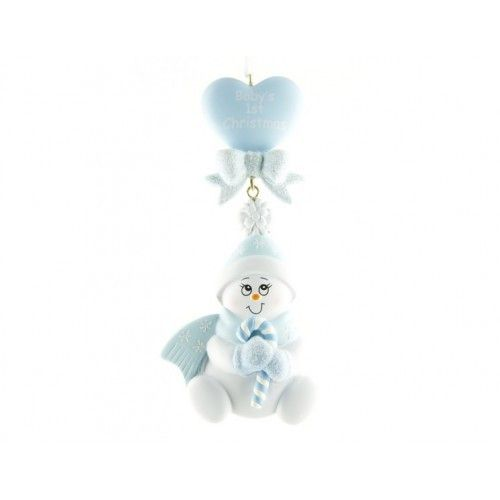 Baby Christmas Ornament Blue Snowbaby Dangling Heart