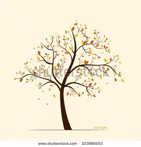 Vector fall, autumn background with colorful leaves on tree  - stock vector