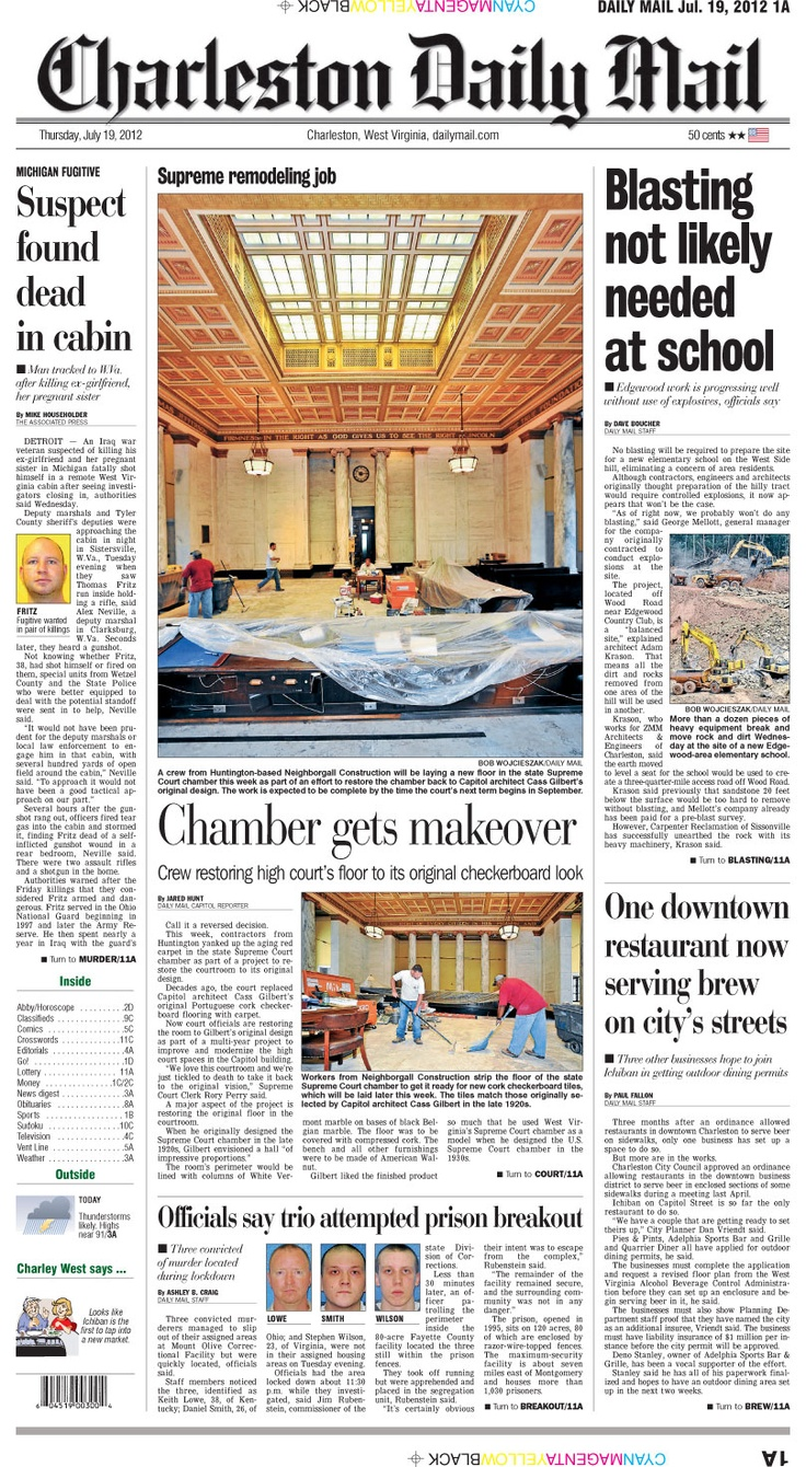 The top story on the Thursday front is good news for residents of Charleston's West Side, as no blasting is expected to be employed to clear land for a new elementary school. The feature covers a makeover for the state's Supreme Court chamber that takes it back to its original design.