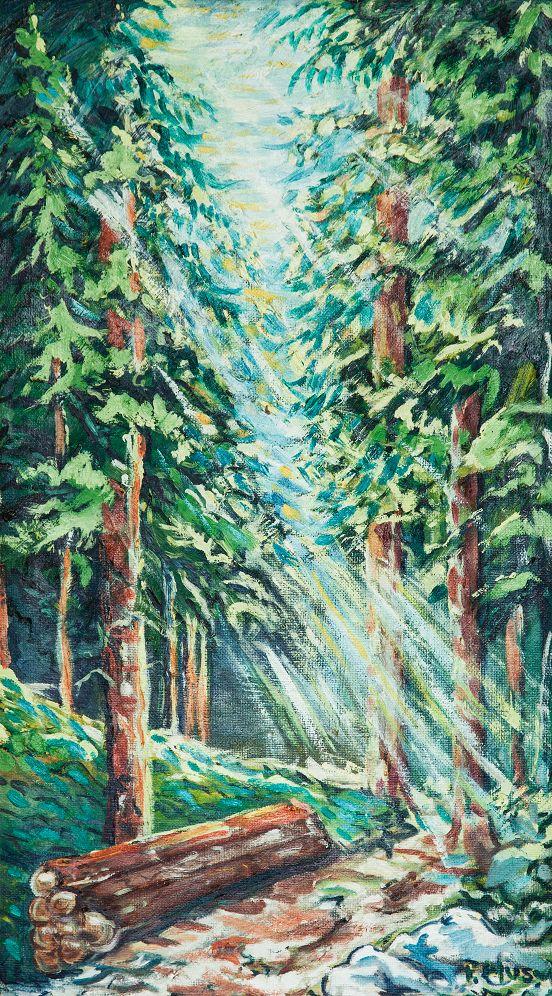 Prienik svetla, olej na kartóne 83 x 47 cm, Pavel Huszár, Banská Bystrica, Slovakia