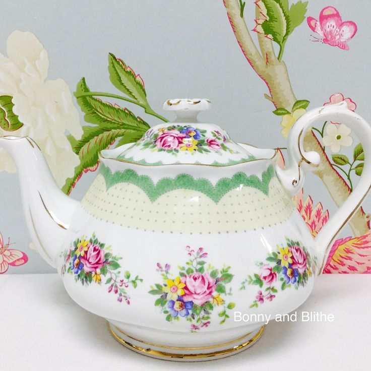 Beautiful and rare Royal Albert Hampton shape Prudence pattern teapot. Now listed on eBay, item number 292247373918.