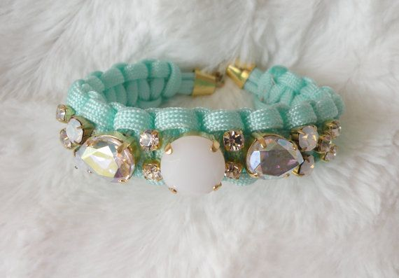 aqua- macrame bracelet with crystals