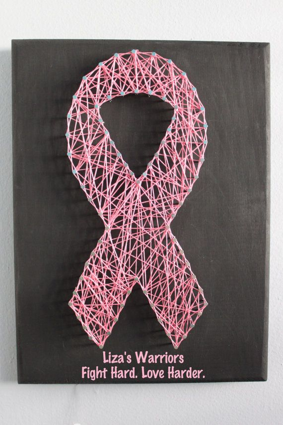 Custom Pink Awareness Ribbon String Art  9x12 - Breast Cancer by MadeOfTheStars, $30.00