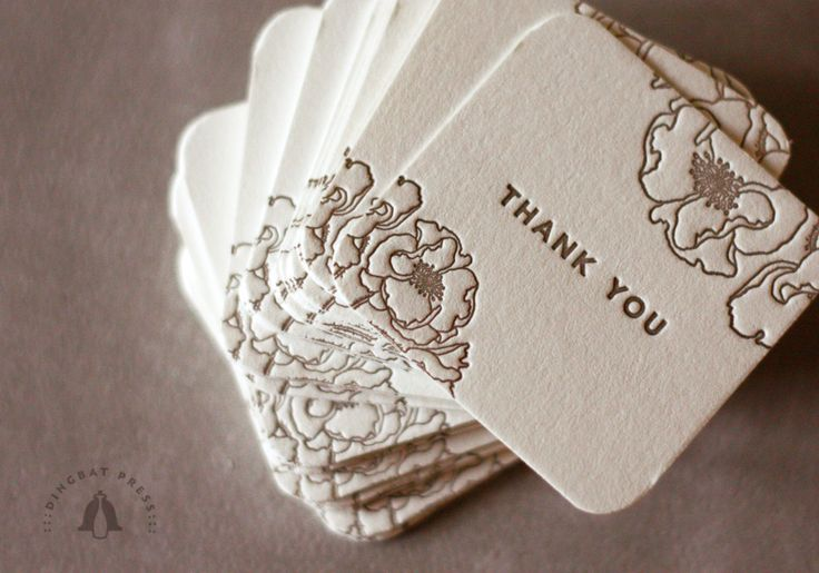 Letterpress thank you tags by DINGBAT PRESS (http://blog.dingbatpress.com/wedding/thank-you/)